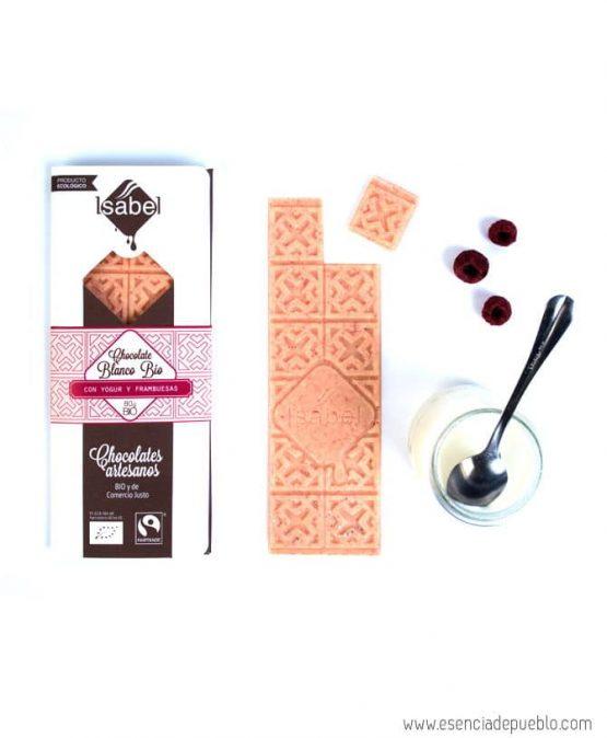Chocolate artesano blanco con yogur y frambuesas, de Chocolates Isabel