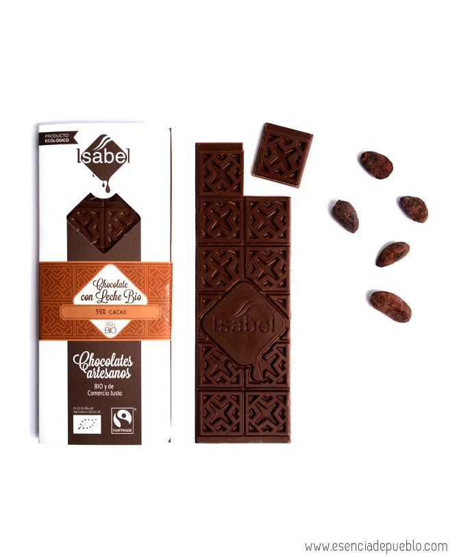 Chocolate artesano con leche BIO, de Chocolates Isabel