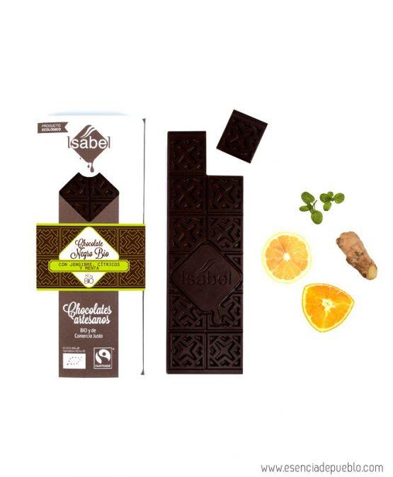 Chocolate artesano negro con jengibre, cítricos y menta, de Chocolates Isabel