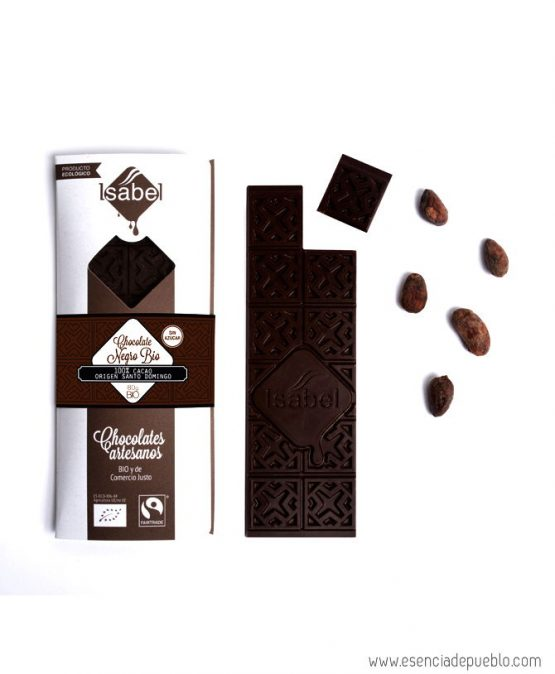 Chocolate negro artesano sin azúcar, origen Santo Domingo, de Chocolates Isabel