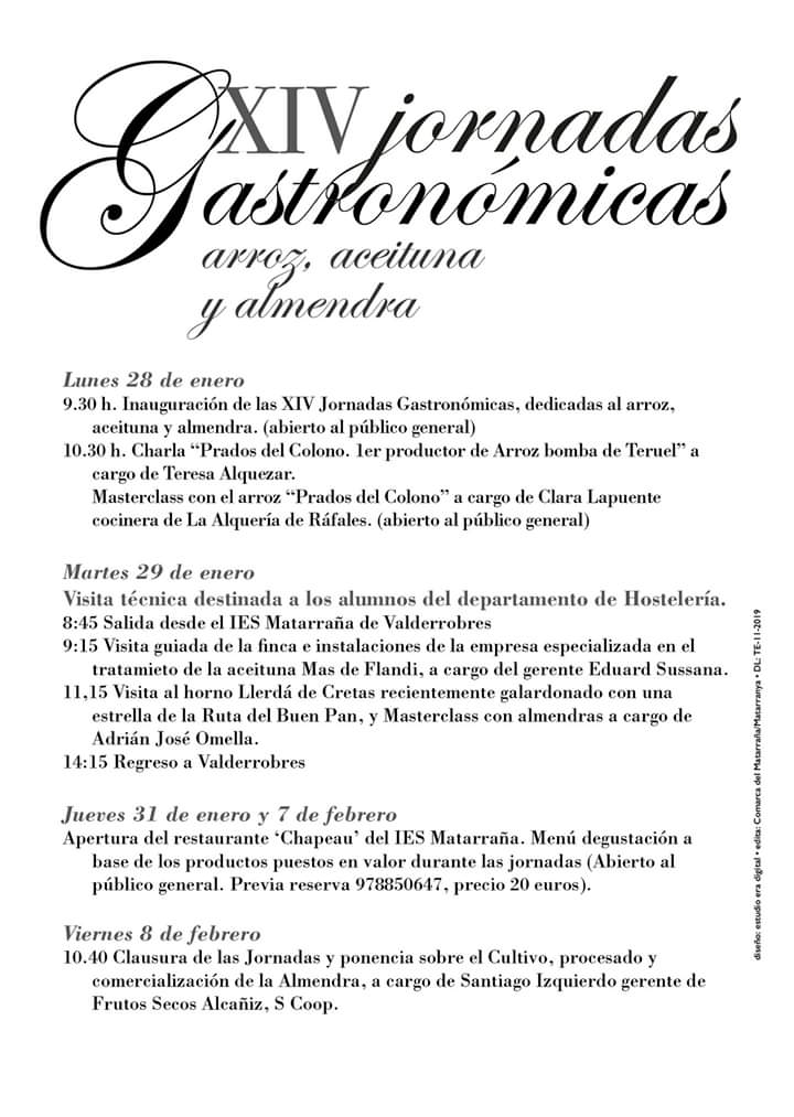 programa jornadas gastronomicas matarraña