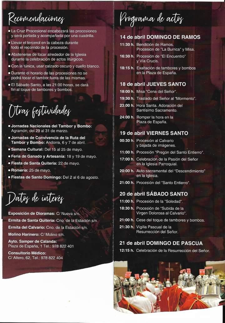 programa semana santa samper de calanda 2019