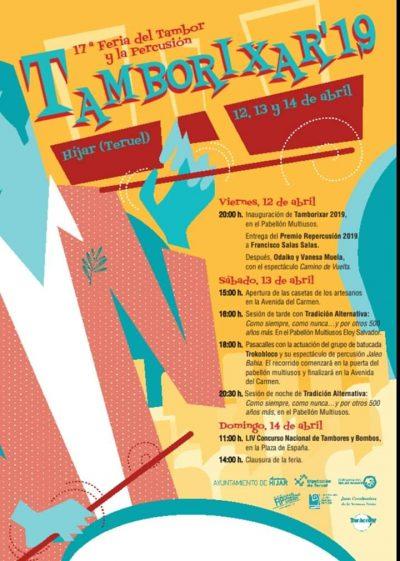 Tamborixar 2019. 17ª Feria del Tambor y la Percusión en Híjar @ Híjar   Aragón   España